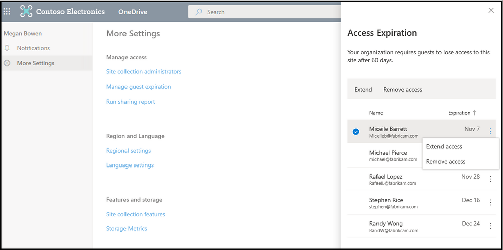 OneDrive owners will have the authority to extend or remove access for the selected users.