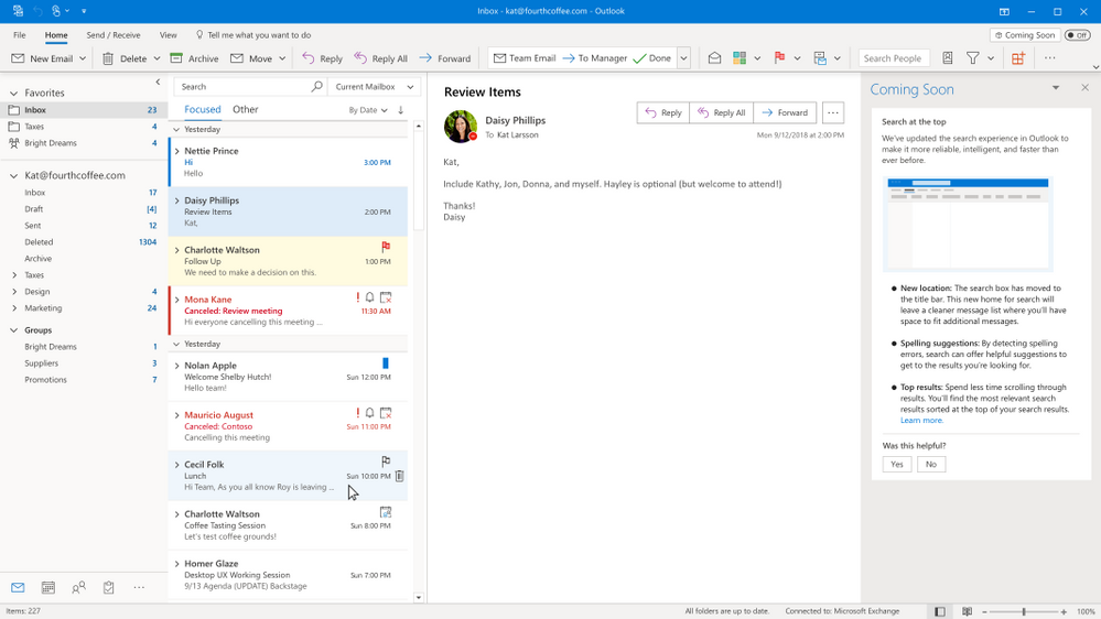 Coming Soon is back to preview Search at the top of Outlook