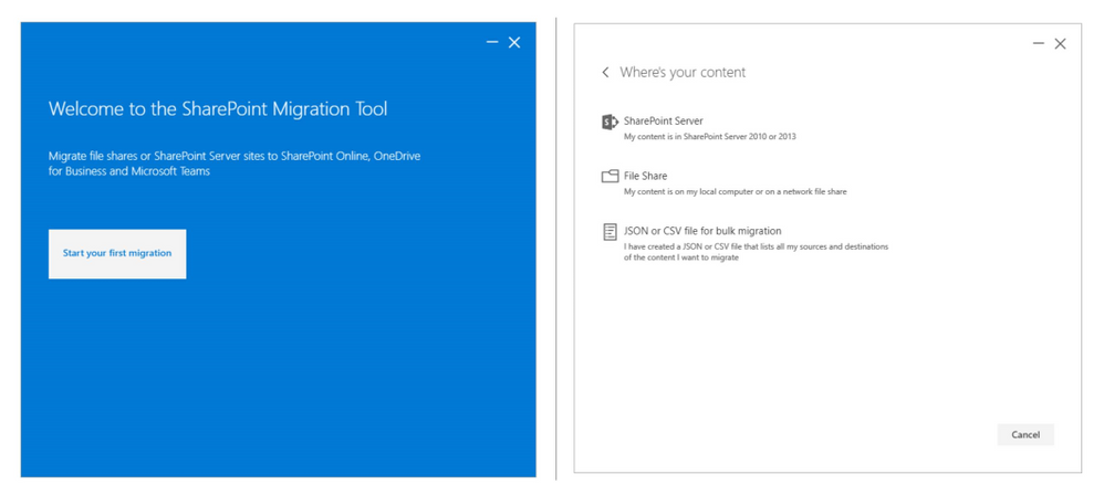 Use the SharePoint Migration Tool to migrate file shares or SharePoint Server 2010 and 2013 sites to SharePoint Online, OneDrive for Business and Microsoft Teams.