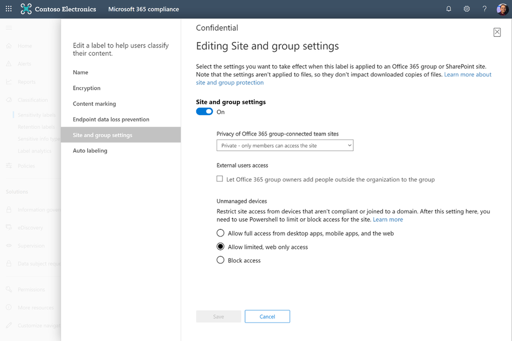 Sensitivity labels creation with site and groups settings in the Microsoft 365 compliance center.