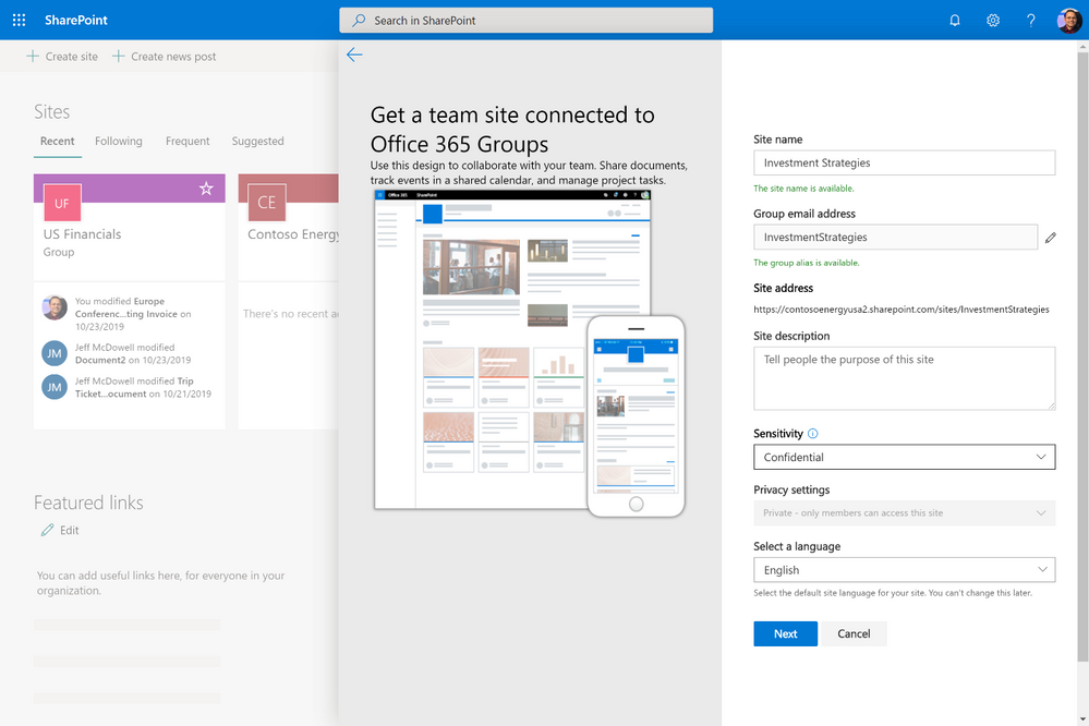 Sensitivity selection in groups-connected site creation experience in SharePoint.
