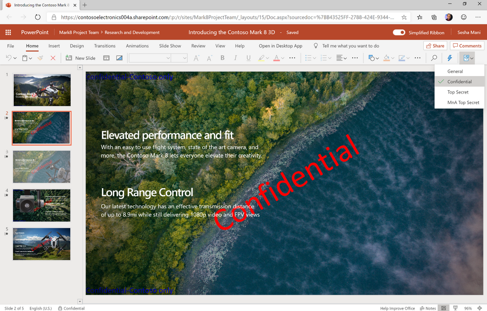 Information barrier as applied to a SharePoint document library - here on a PowerPoint file.
