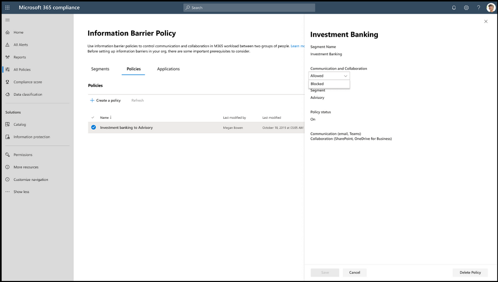 Use information barrier policies to control communication and collaboration in Microsoft 365 between two groups of people.