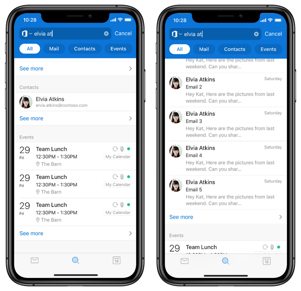 Keyword Search results across tabs in Outlook mobile