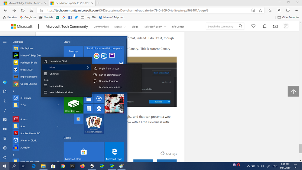 The one with tasks is from start menu