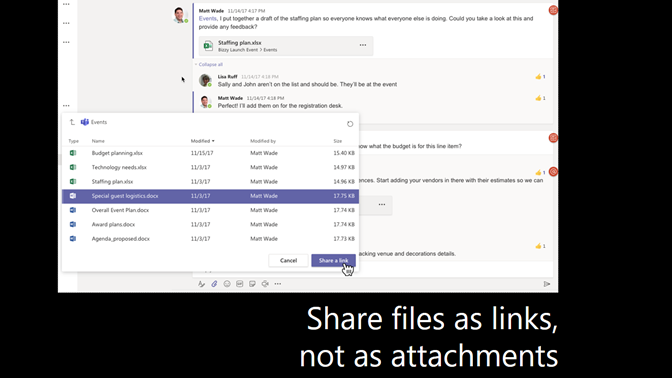 Slide showing sharing files as a link instead of an attachment
