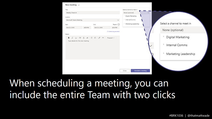 Slide showing scheduling meetings directly in a channel