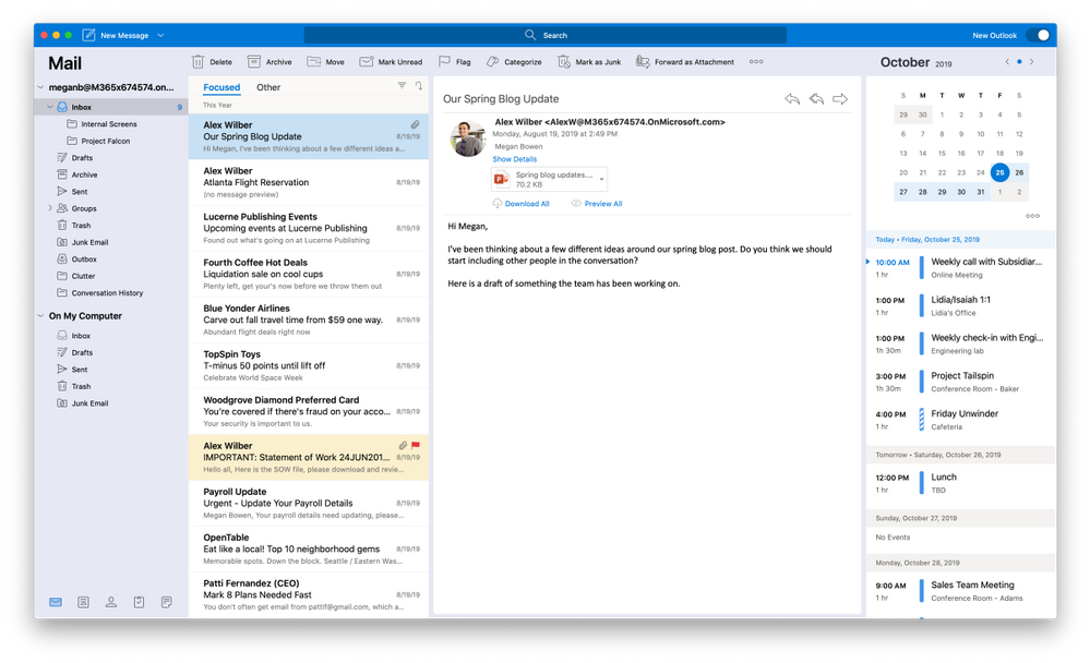 The new Outlook for Mac main mail canvas