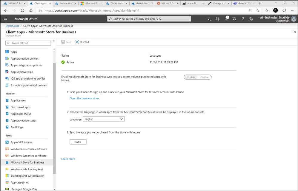 Figure 2. Store for Business settings - Intune administration