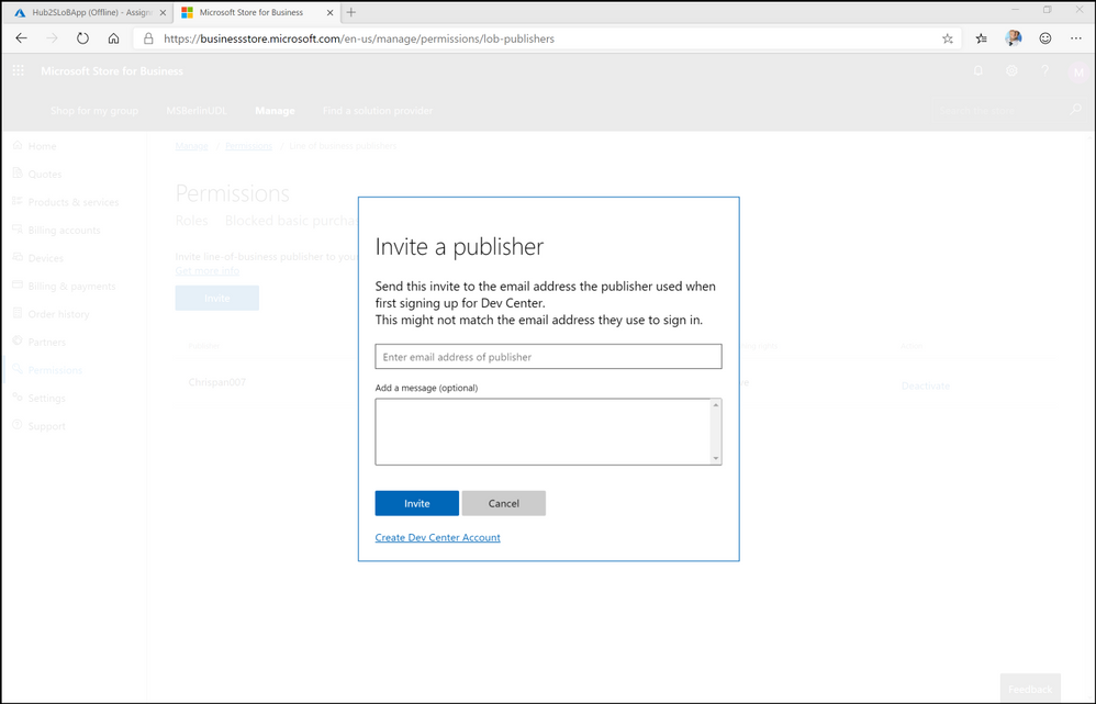 Figure 3. inviting an ISV publisher in Store for Business