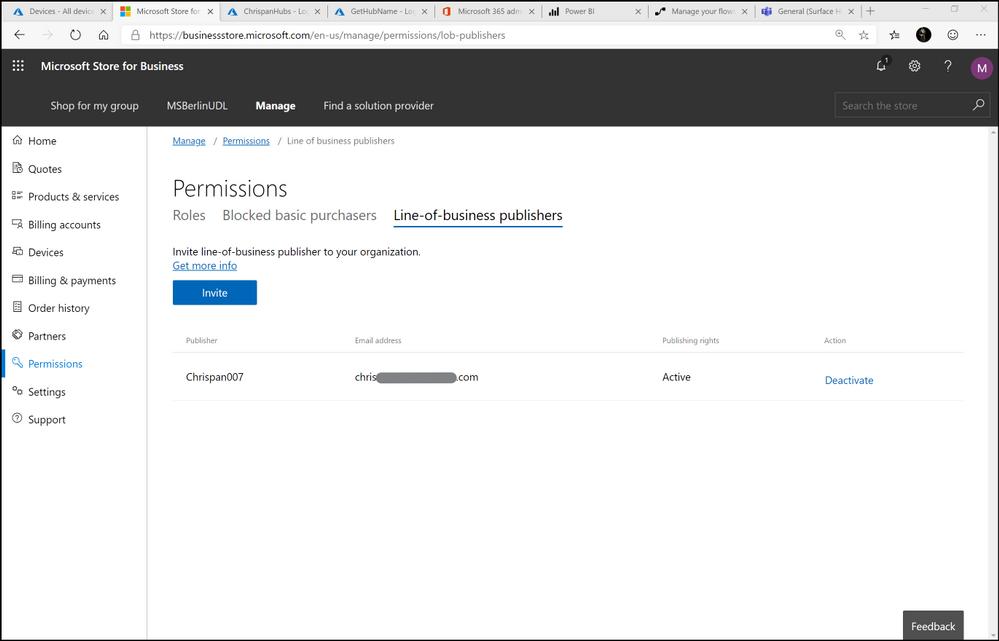 Figure 4. Store for Business Permissions configuration for LoB publisher status