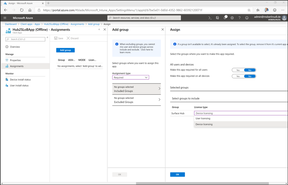 Figure 13. Assigning app to target device group in Intune