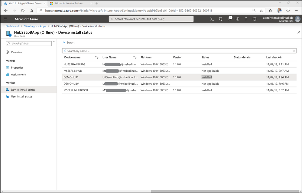 Figure 14. Device install status page in Intune