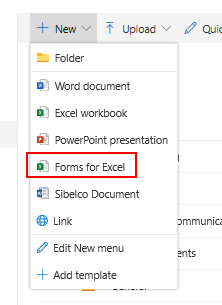 1 - Create Forms for Excel in Modern Site Collection