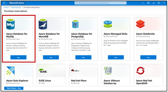 Fig 2 - Select the Azure Database for MySQL for Reserved capacity