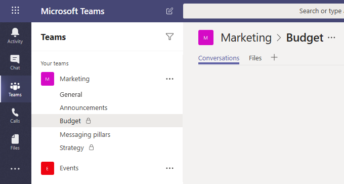 A lock icon indicates a private channel in Microsoft Teams. Only members of private channels can see and participate in private channels that they are added to, and work with the corresponding private files.