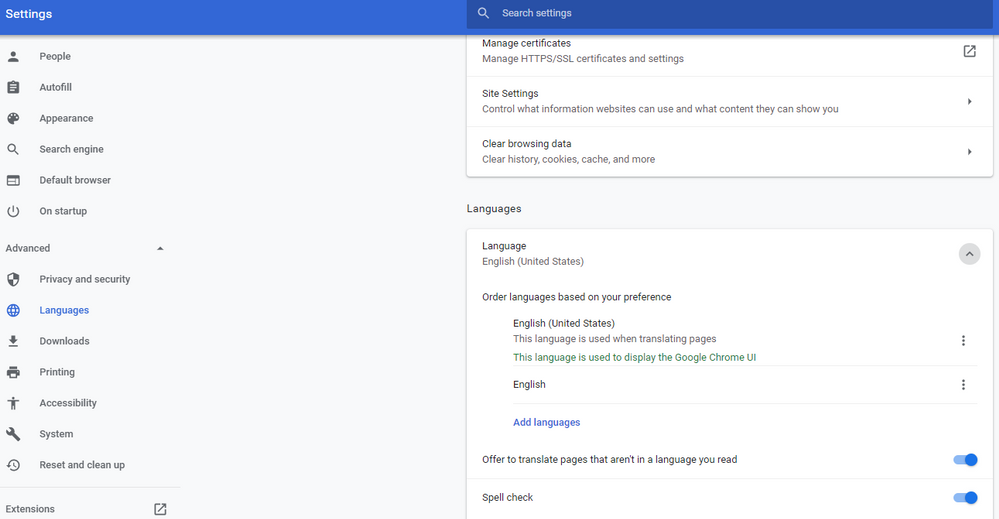 See the option for 'Offer to translate pages that aren't in a language you read'
