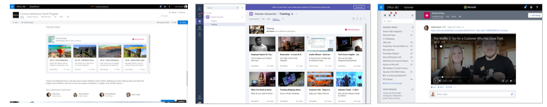 Microsoft Stream videos and channels can be embedded throughout Office 365 – in SharePoint (left), in Microsoft Teams (middle) and Yammer (right).