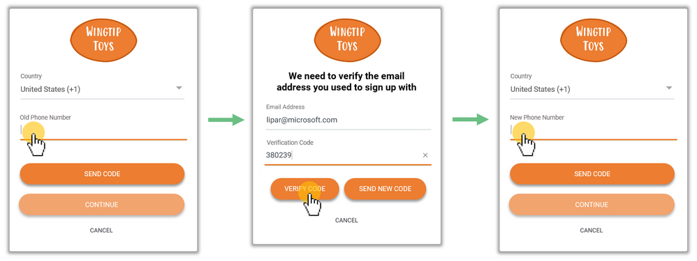 Figure 3. The process of changing phone number is accomplished in three steps: First, user enters their old phone number. Second, user signs in with the OTP sent to the recovery email they provided during sign up. Third and finally, after user successfully verifies their recovery email and signs in, they then verify their new phone number.