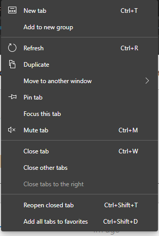 When right-clicking on a tab
