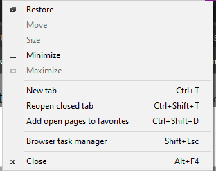 When right-clicking on the toolbar