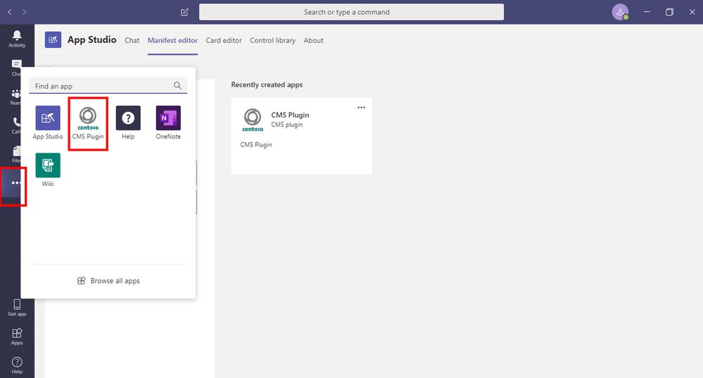 Application list with custom app added