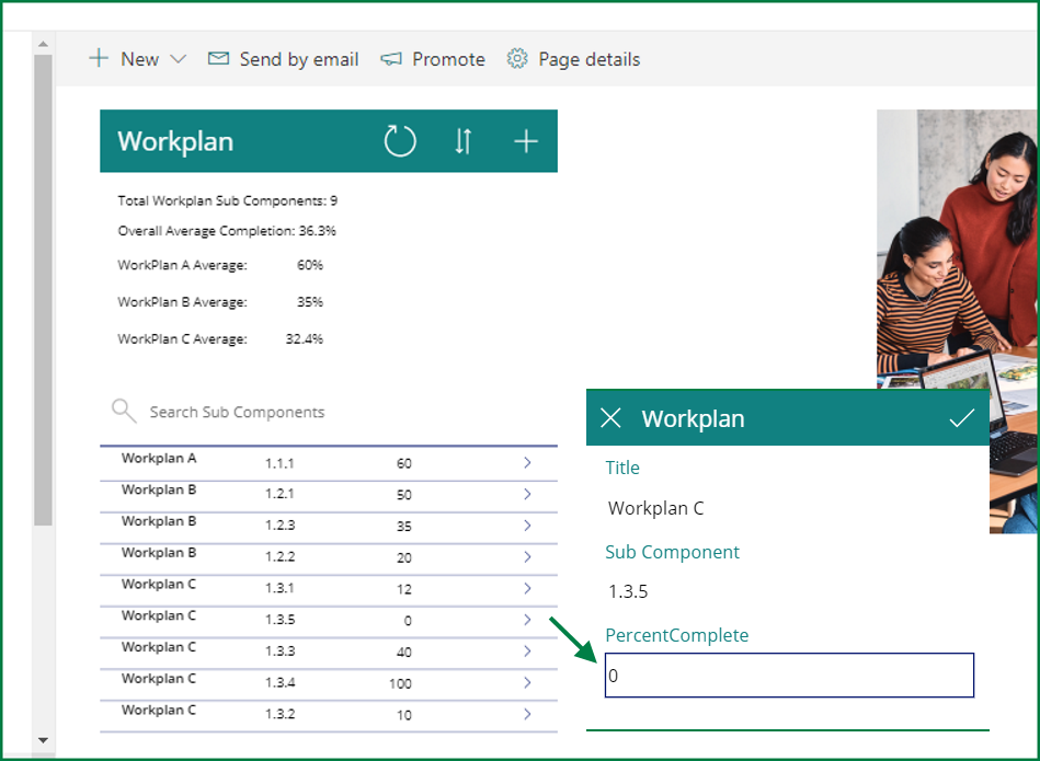 PowerApps app embedded in SharePoint page - users could only change the % for the sub-component