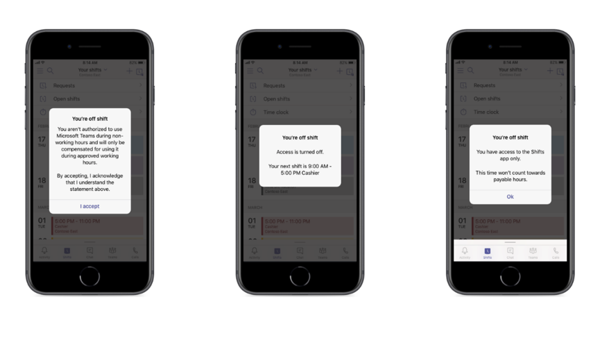 Display a message and/or disable access to Teams app when Firstline Workers are off shift.