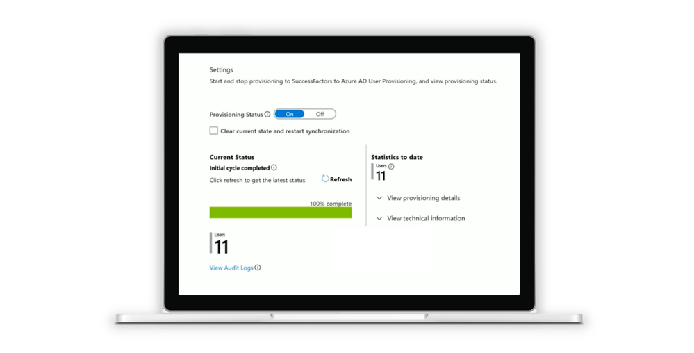 Start the provisioning cycle and use the progress bar and provisioning logs to track the provisioning process.