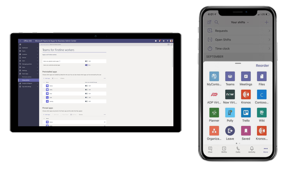 Create a configuration policy for your Firstline Workers and customize their navigation bar with the apps they need most (left). Firstline Workers can access the apps they need to do their jobs from the overflow menu (right).