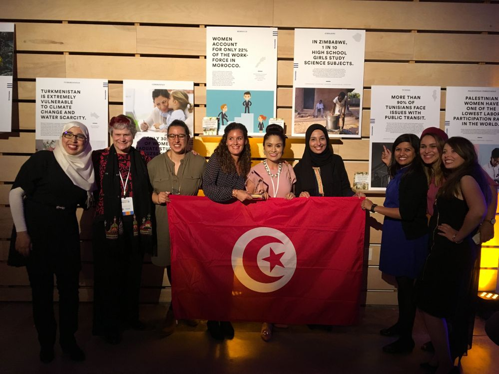 TechWomen mentors Fatema, Katy, and Mercedes, with their Tunisian team of TechWomen Emerging Leaders in 2016. The team won a seed grant for their startup idea from the U.S. Department of State.