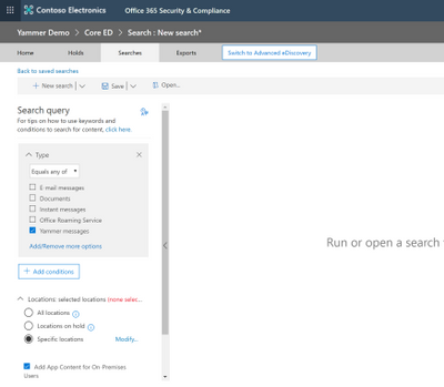 Yammer content is now available for eDiscovery within the Office 365 Security & Compliance Center