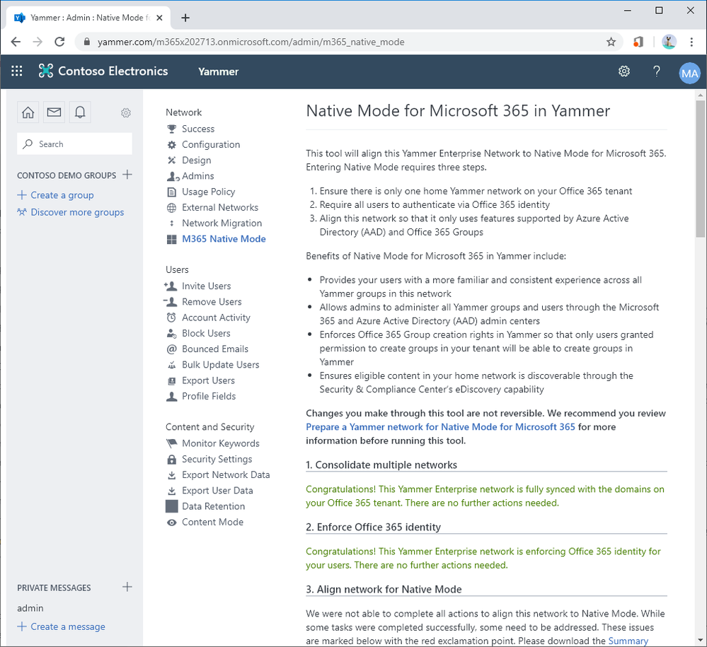 The Native Mode Alignment Tool is coming to Yammer
