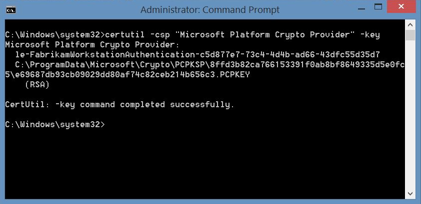 Setting up TPM protected certificates using a Microsoft Certificate Authority - Part 1: Microsoft Platform Crypto Provider