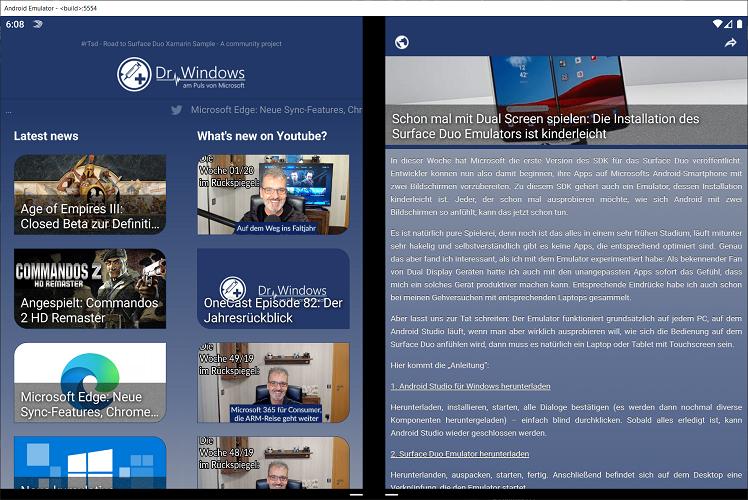 #rTsd Surface Duo app screenshot