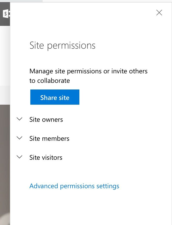 Site permissions panel flies out from the right after clicking the gear icon > Site permissions.