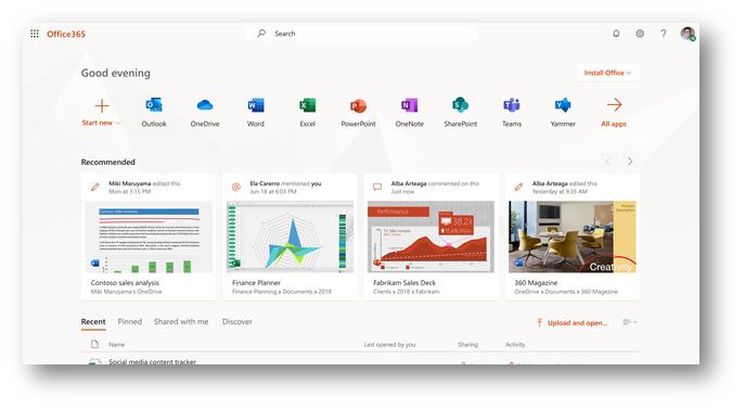 Figure 1 - Office.com home page