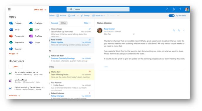 Figure 2 - Office 365 app launcher