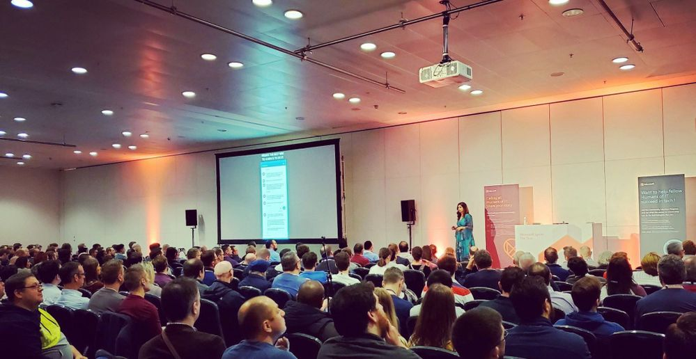 Microsoft speaker Dona Sarkar speaks to a packed audience on the Humans of IT track at Microsoft Ignite The Tour London