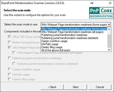 """Select the SharePoint Modernization Scanner option you want in the dropdown and then the checkboxes will show which components will be included in the scan. The """"Office 365 Group connection readiness"""" component is the main component that will be included all scan modes."""