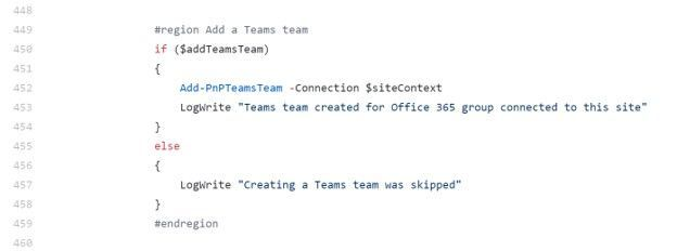 Section of the sample PowerShell script to create a new Microsoft Teams team and associated it to the SharePoint site.