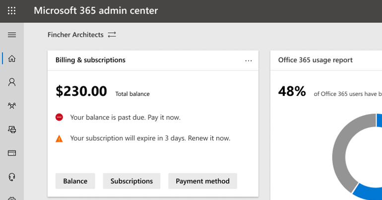 Organization switcher icon in the Microsoft 365 admin center