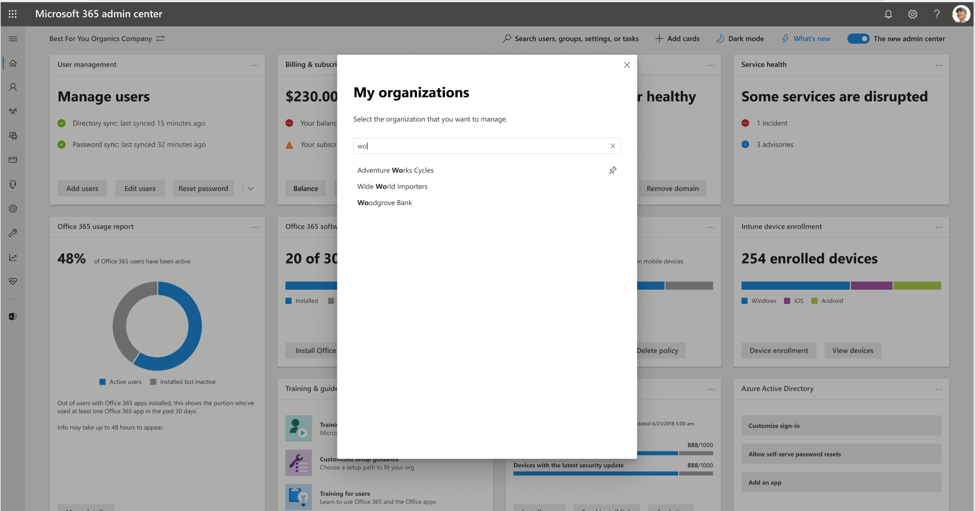 Use search to quickly find an organization