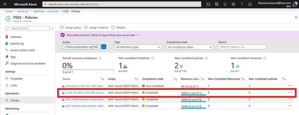 Azure Arc Server Compliant with Azure Guest Configuration Policy