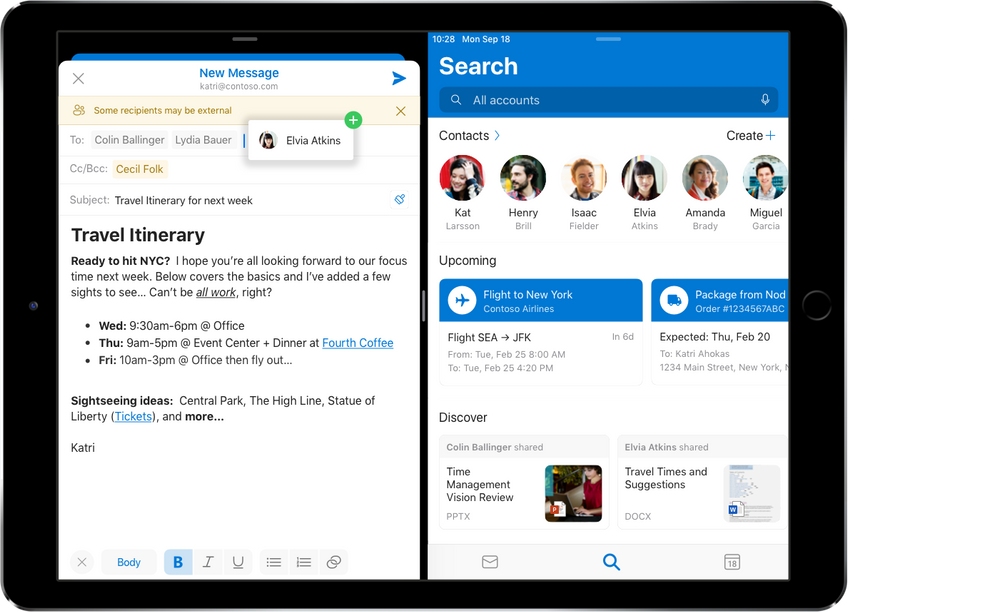 Outlook for iOS rich formatting tools. iPad split view with drag and drop contacts from Search.