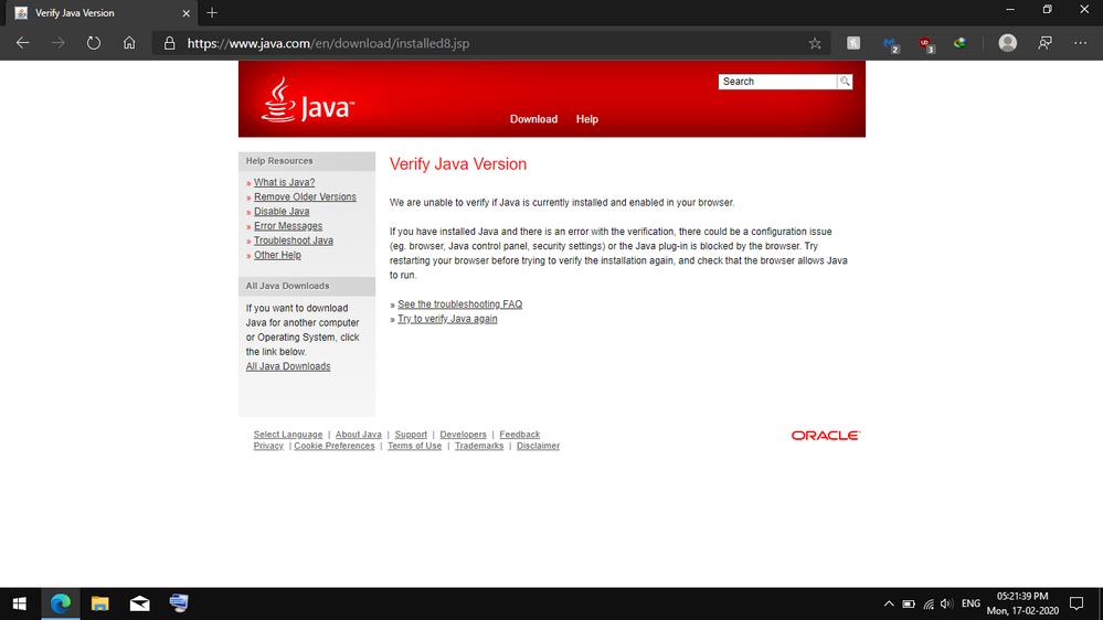 Java verification in Microsoft Edge(stable version) 64 bit
