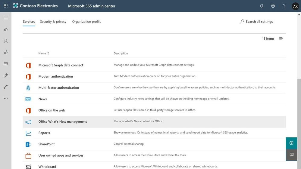Figure 1 - Office What's New management in the Microsoft 365 admin center