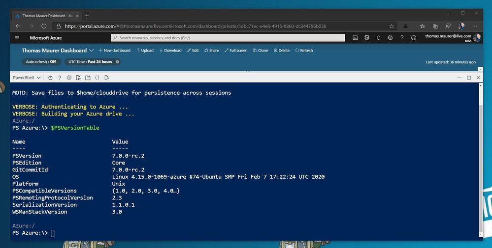 Azure Cloud Shell runs PowerShell 7