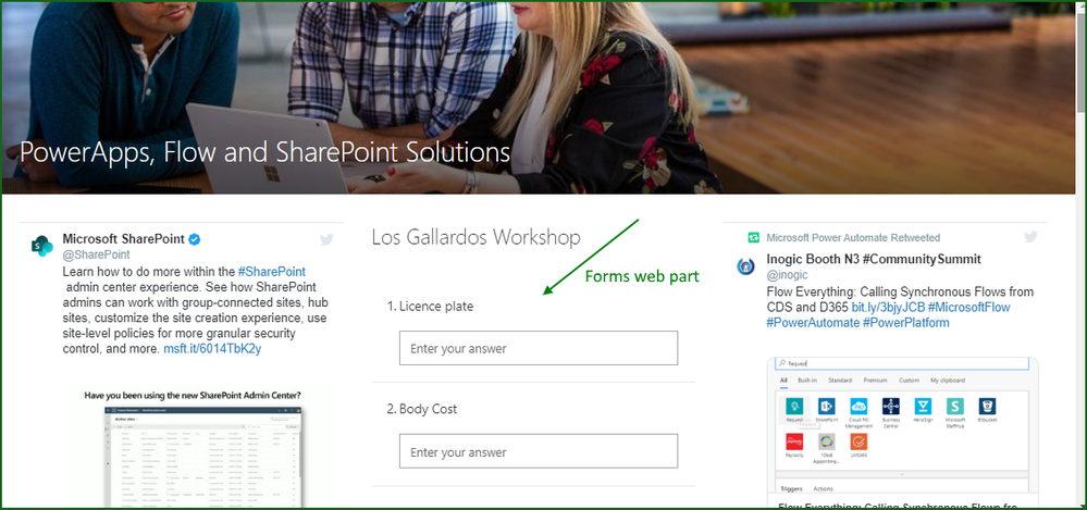 Microsoft Forms web part on SharePoint page
