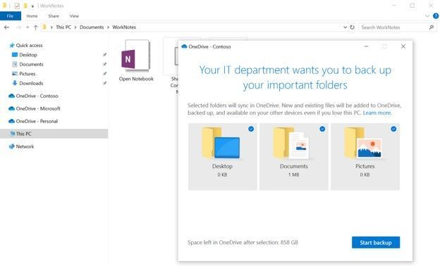 """The Known Folder Move option, aka """"PC folder backup"""" can now help migrate OneNote files from your desktop."""